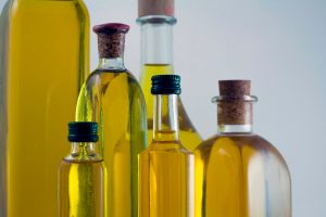 Bottles of extra virgin olive oil, green gold of Andalusia, Spain